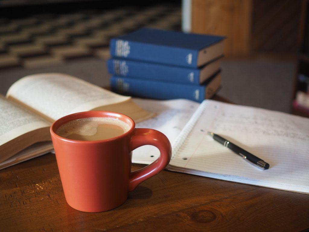 study materials at desk
